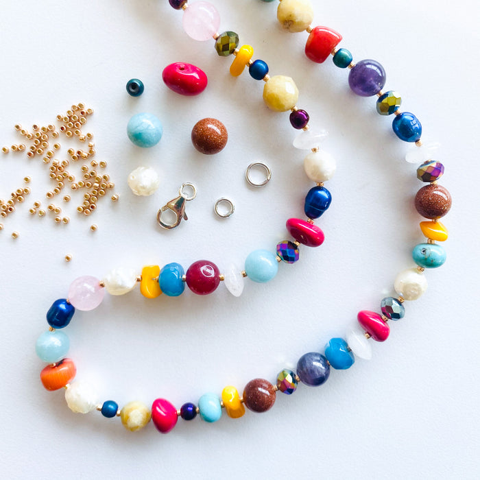 Multicoloured Gemstone & Bead Necklace