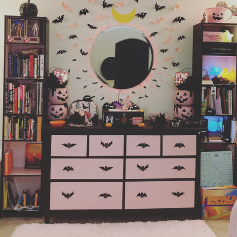 Pink and Black IKEA Dresser with Bats