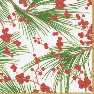 Load image into Gallery viewer, Berries & Pine Paper Dinner Napkins