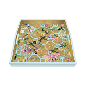 Load image into Gallery viewer, Hummingbird Trellis Lacquer Square Tray