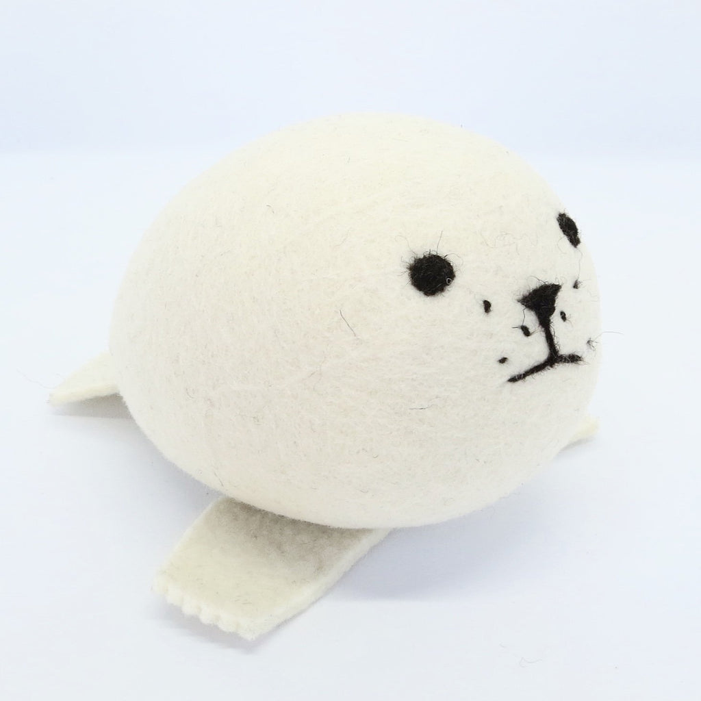 Flock Felt Animal Collection White Seal