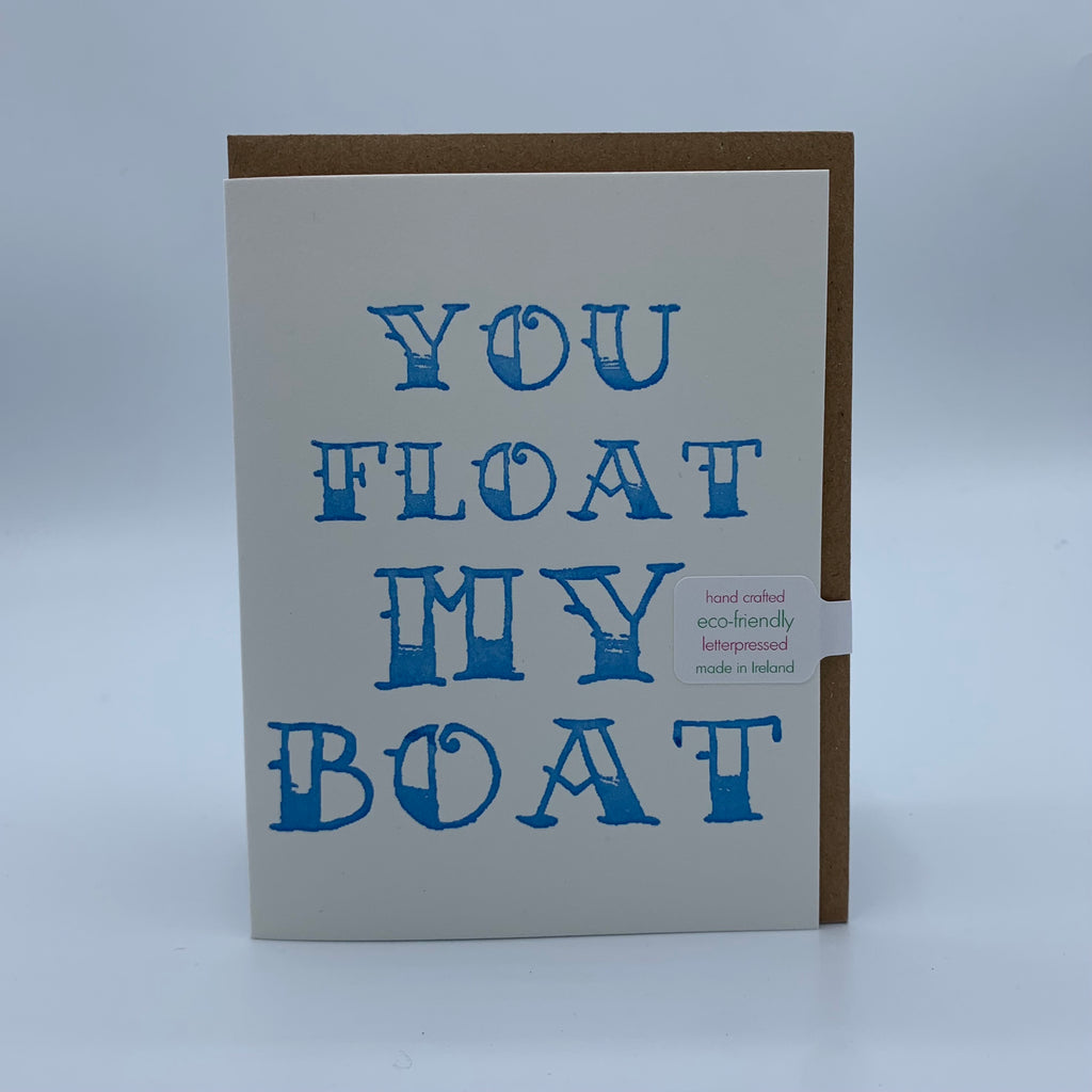 'You float my boat' The Pear in Paper Letterpress Card