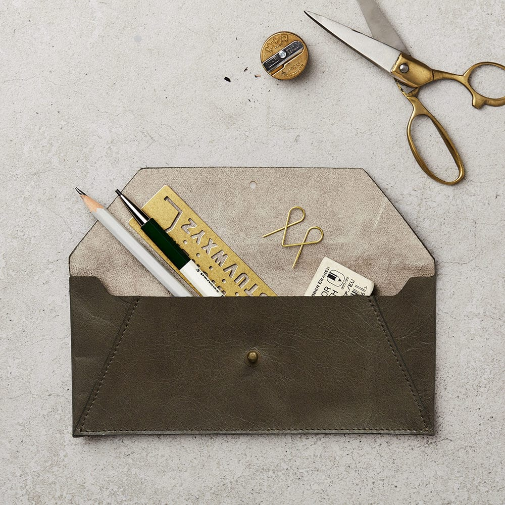 Katie Leamon Brown Pencil Pouch