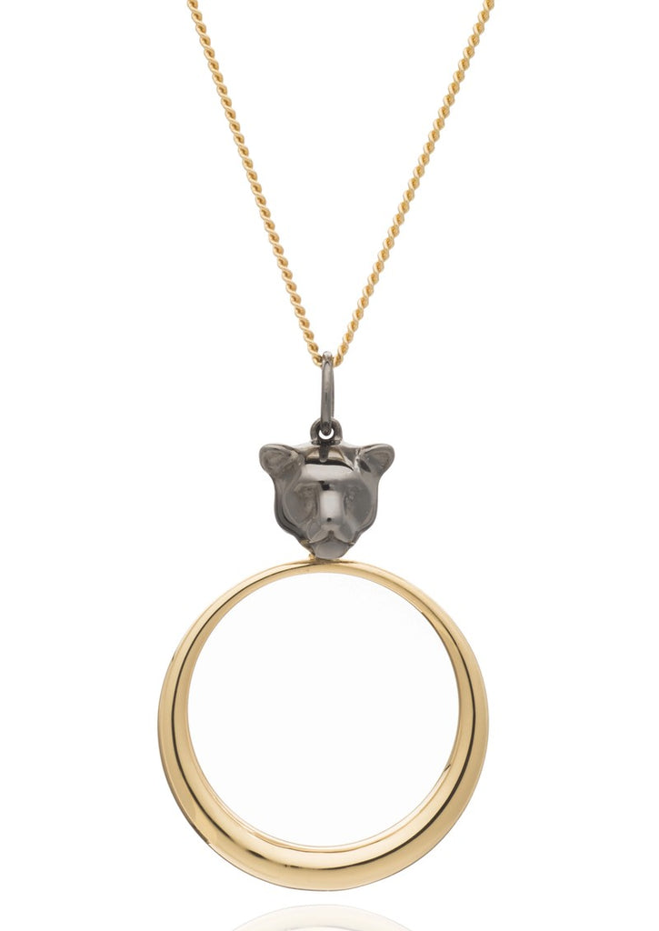 Rachel Jackson Full Moon Panther Necklace Black and Gold