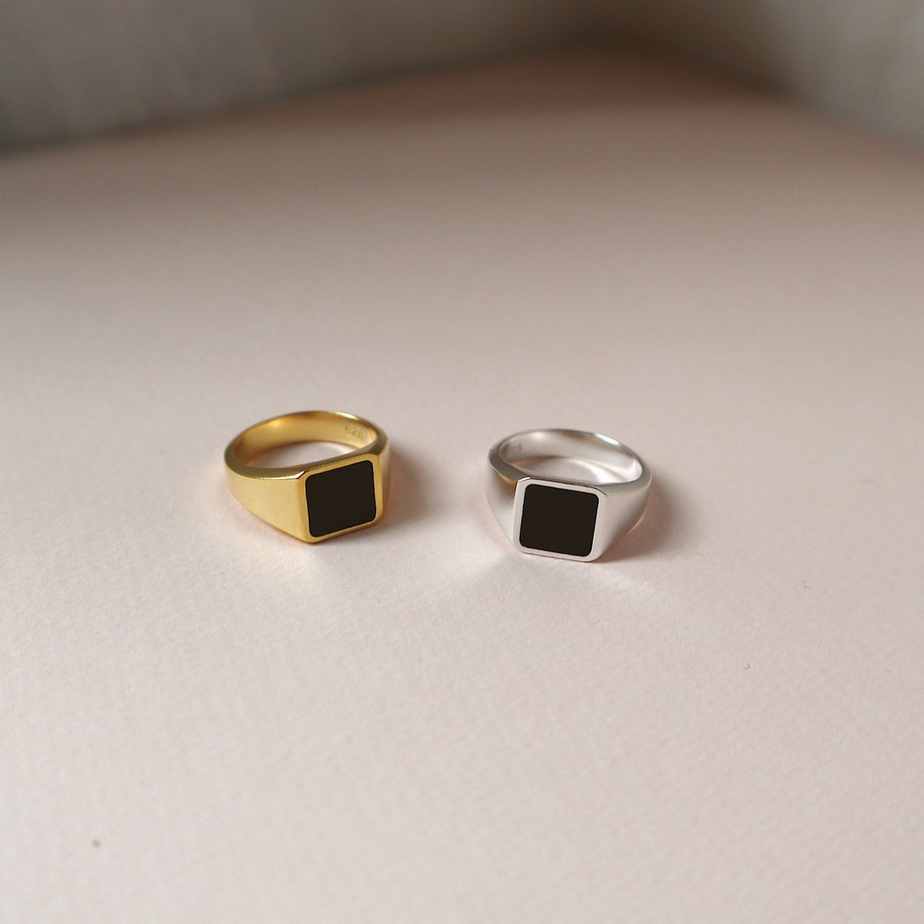 "Lines & Current Dark ""Marlowe' Signet Ring"
