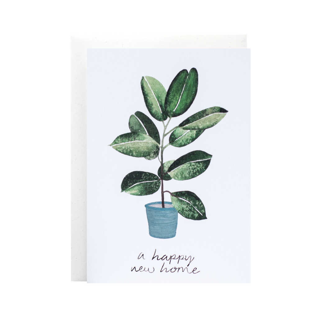 The Hidden Pearl Studio Cute Plant Lover New Home Card