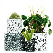 Salt Studios Terrazzo Pots Black and White