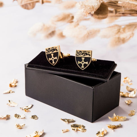 Gold plated cuff links with Newcastle University logo on