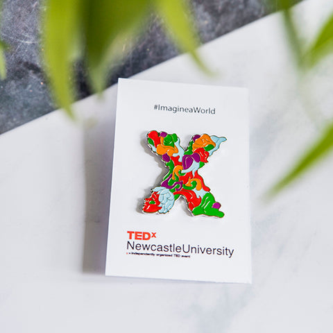 TEDx Imagine a World pin badge with backing card