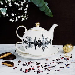 Tea for one set with black and white design featuring landmarks from Newcastle & Gateshead with real gold detailing