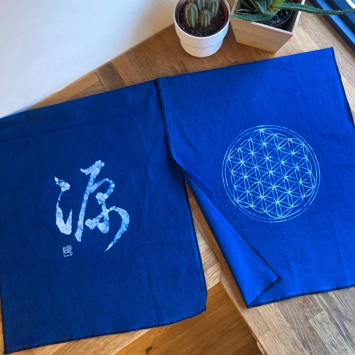 NOREN Curtain with Flower of Life + Japanese letter