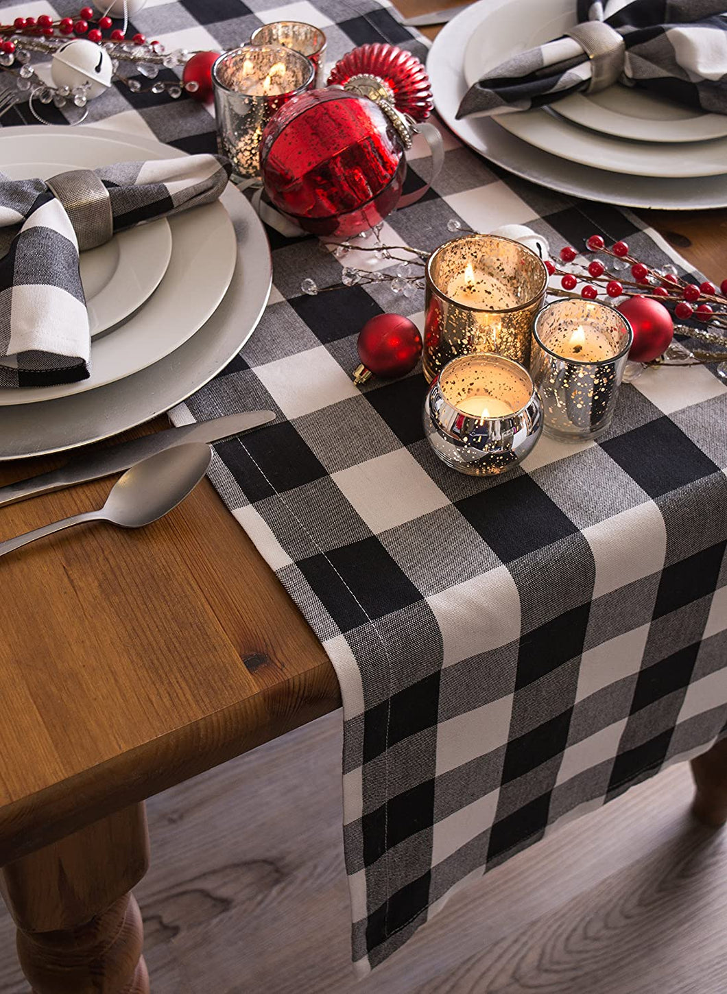 Black and White Buffalo Plaid Table Runner
