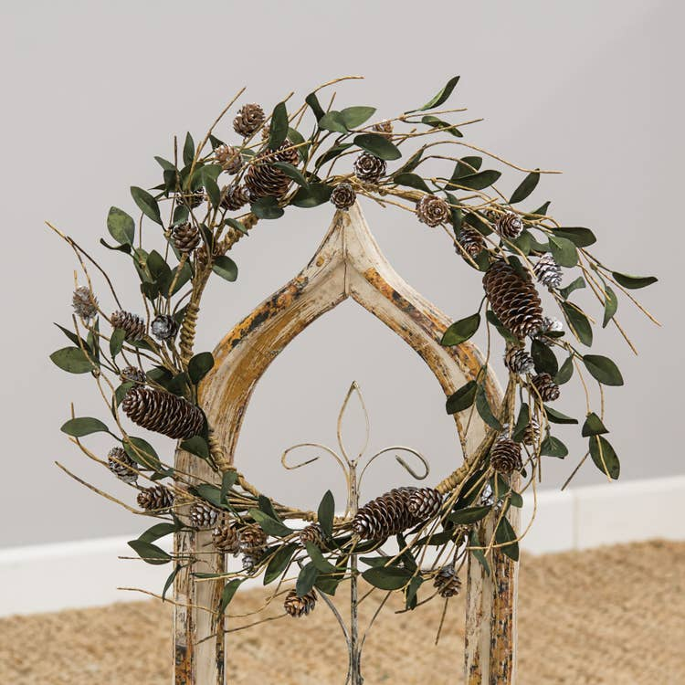 Silver Frosted Pine Cone and Leaf Wreath