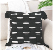 Load image into Gallery viewer, Black Boho Tassel Pillow