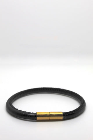 Black Leather Bracelet with Gold-Filled Clasp