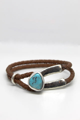 Brown Leather Bracelet with Turquoise Buckle