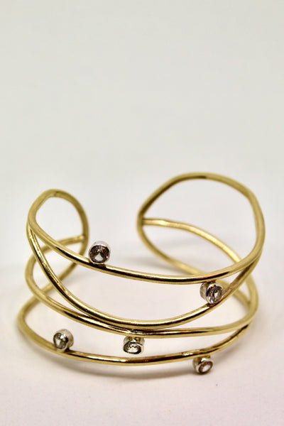 Scribble Cuff in 22k Gold with White Sapphires