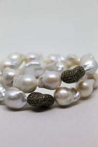 Sea Pearl Bracelet with Diamond Nugget