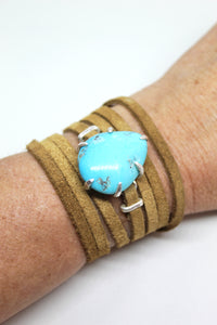 Turquoise and Suede Wrap Bracelet