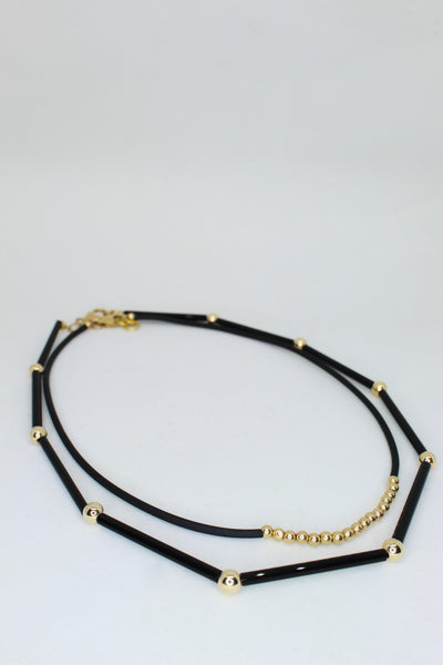 Black Choker with Gold Beads