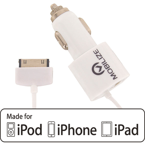 Mobilize Car Charger Apple 30-pin + USB 4.2A 20W White