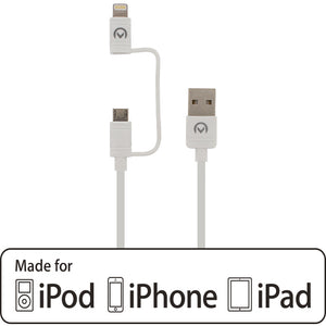 Mobilize 2in1 Charge/Sync Cable Apple MFi Lightning/Micro USB 1.5m. White