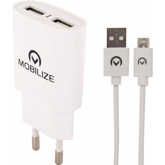 Mobilize Travel Charger Dual USB 2.4A 12W + 1m Micro USB Cable White