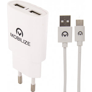 Mobilize Travel Charger Dual USB 2.4A 12W + 1m USB-C Cable White