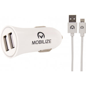 Mobilize Car Charger Dual USB 2.4A 12W + 1m Micro USB Cable White