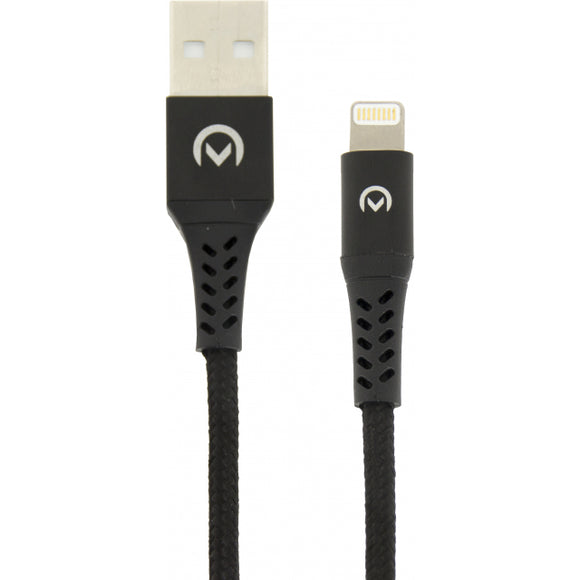Mobilize Nylon Braided Charge/Sync Cable Apple MFi Lightning 2.4A 2m. Black