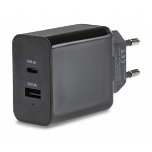 Mobilize Smart Travel Charger Dual USB 5.4A with USB-C Black