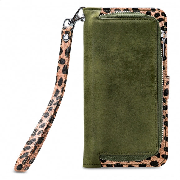 Mobilize 2in1 Magnet Zipper Case Apple iPhone XR Olive/Leopard