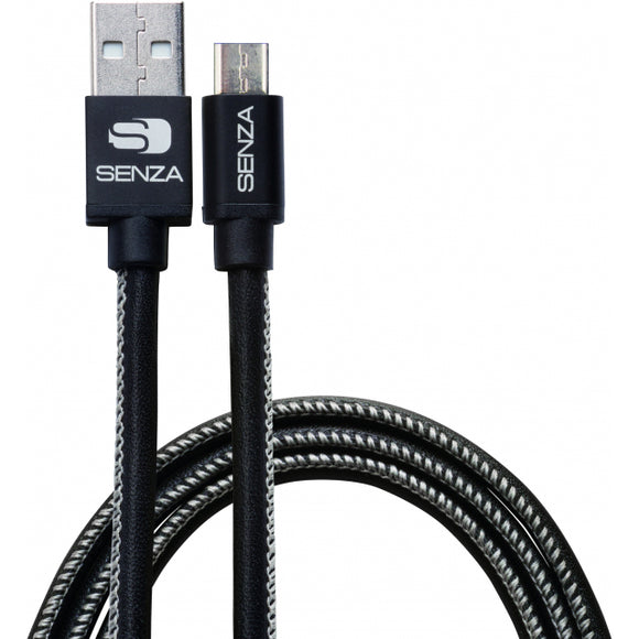 Senza Premium Leather Charge/Sync Cable Micro USB 1.5m. Black