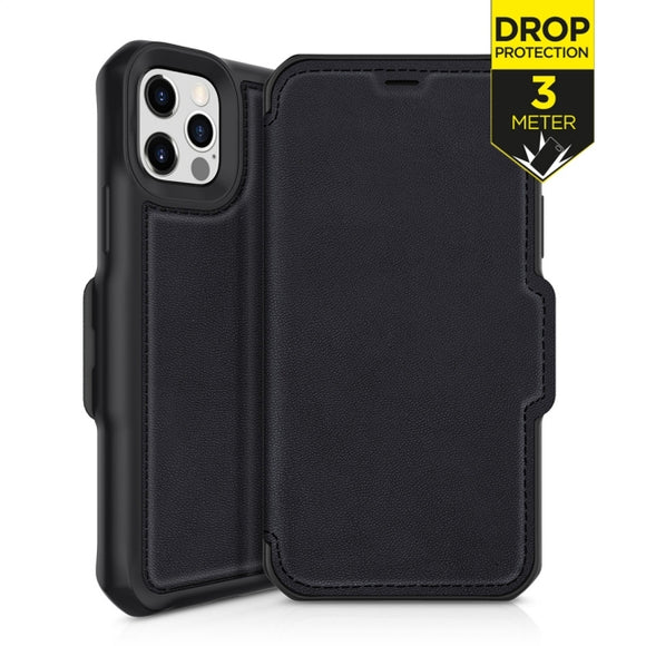 ITSKINS Level 2 HybridFolio Leather for Apple iPhone 12 Pro Max Pure Black