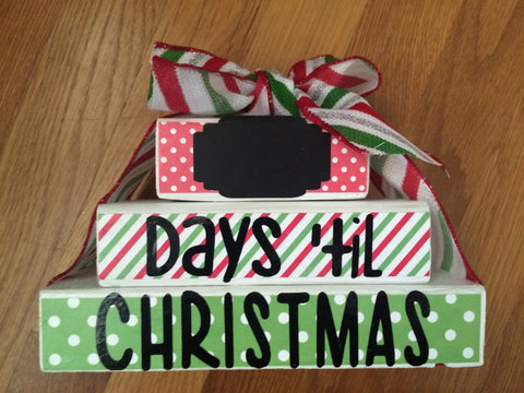 "Stacked Wood Blocks - ""Days Until Christmas"" Countdown"