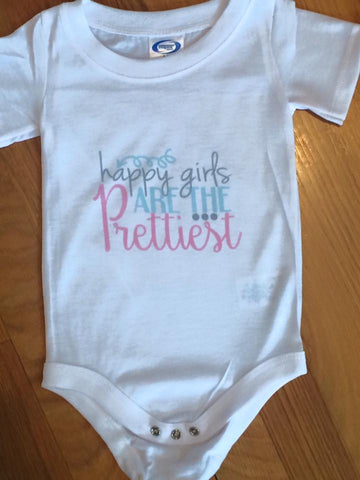 "Onesie / Bodysuit ""Happy Girls are the Prettiest"""
