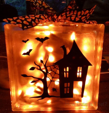 Haunted House Glass Block Light