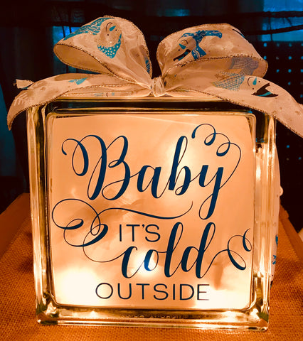 Large Glass Block Light - Baby It's Cold Outside