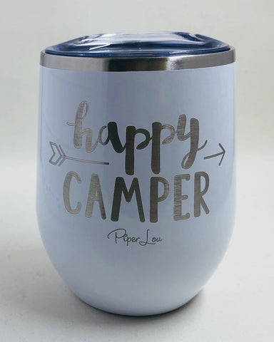 Happy Camper 12 oz stemless wine cup