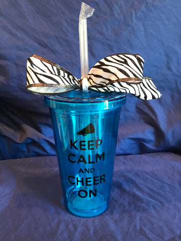 "Acrylic Tumbler - ""Keep Calm & Cheer On"""