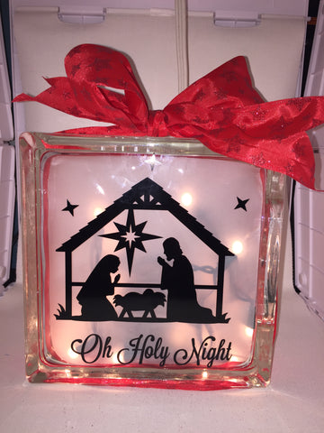 "Large Glass Block Light - ""Manger Scene"""