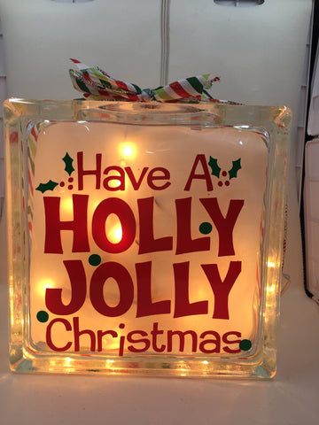 "Large Glass Block Light - ""Have A Holly Jolly Christmas"""