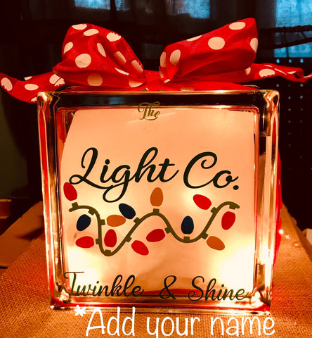 "Large Glass Block Light - ""The Light Company"""