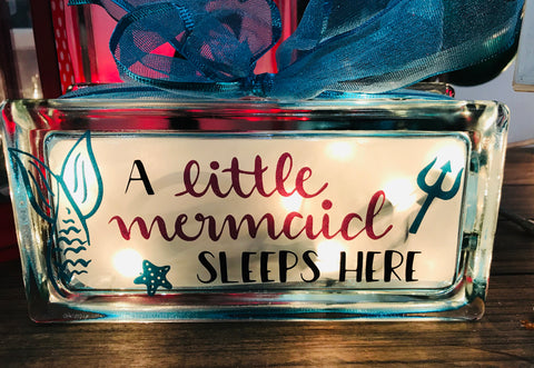 Small Glass Block Light - Mermaid Sleeps Here