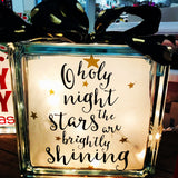 "Large Glass Block Light - ""Oh Holy Night"""