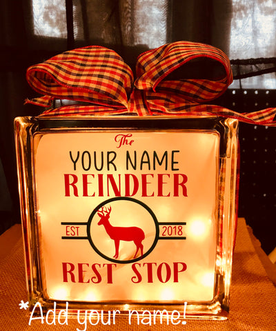 "Large Glass Block Light - ""The Reindeer Rest Stop"""