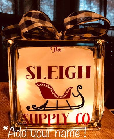 "Large Glass Block Light - ""The Sleigh Supply Company"""