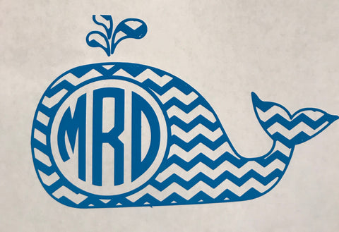 Chevron Whale Monogram Decal
