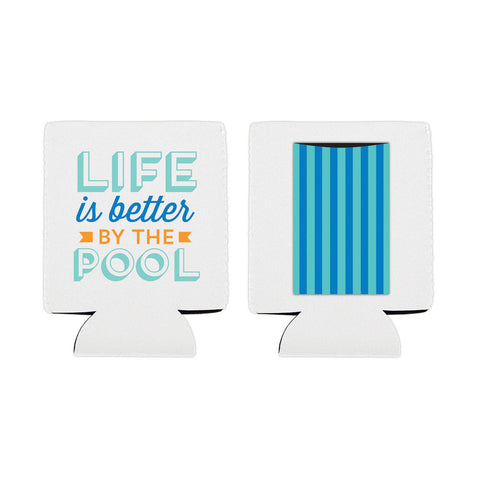 "Can Koozie - Insulated Can Cover with Pocket - ""Life is better by the pool"" - Slant Collections"