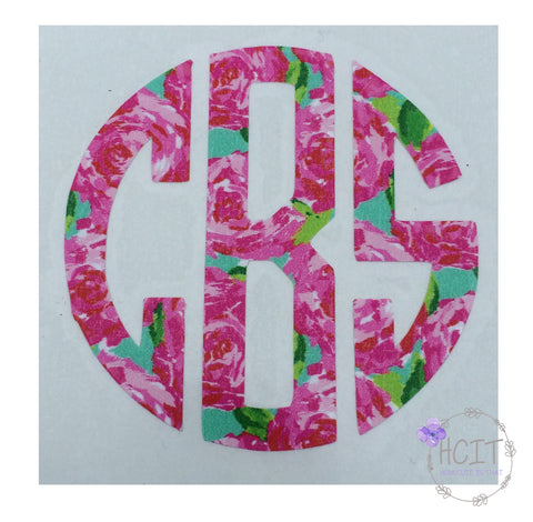 Circle Monogram Vinyl Stickers - Lilly Pulitzer Inspired